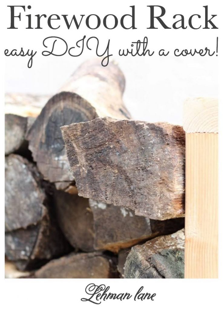 I made this simple & EASY DIY firewood rack for less than $30 (not counting the cover) in less than an hour for our outdoor flagstone patio! #diy #firewood #outdoordiy https://lehmanlane.net