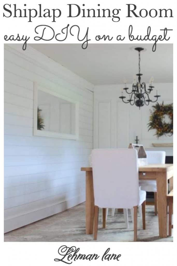 Sharing all the details of installing beautiful white wood shiplap walls in our farmhouse dining room for less than $500 if was definitely a great DIY project for those on a budget. #shiplap #diningroom #diningroomdecor https://lehmanlane.net