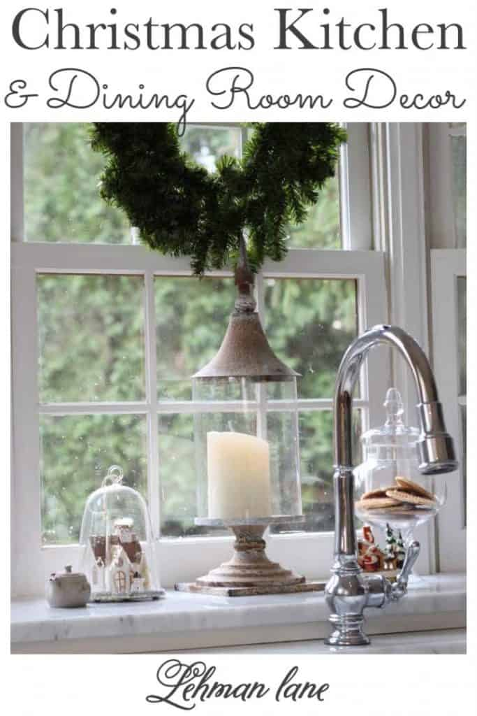 Sharing all the details of our Farmhouse Christmas Kitchen with vintage Christmas Decor Ideas for the dining room too with pictures along with 25 more Christmas tours from my friends! #christmas #christmaskitchen https://lehmanlane.net