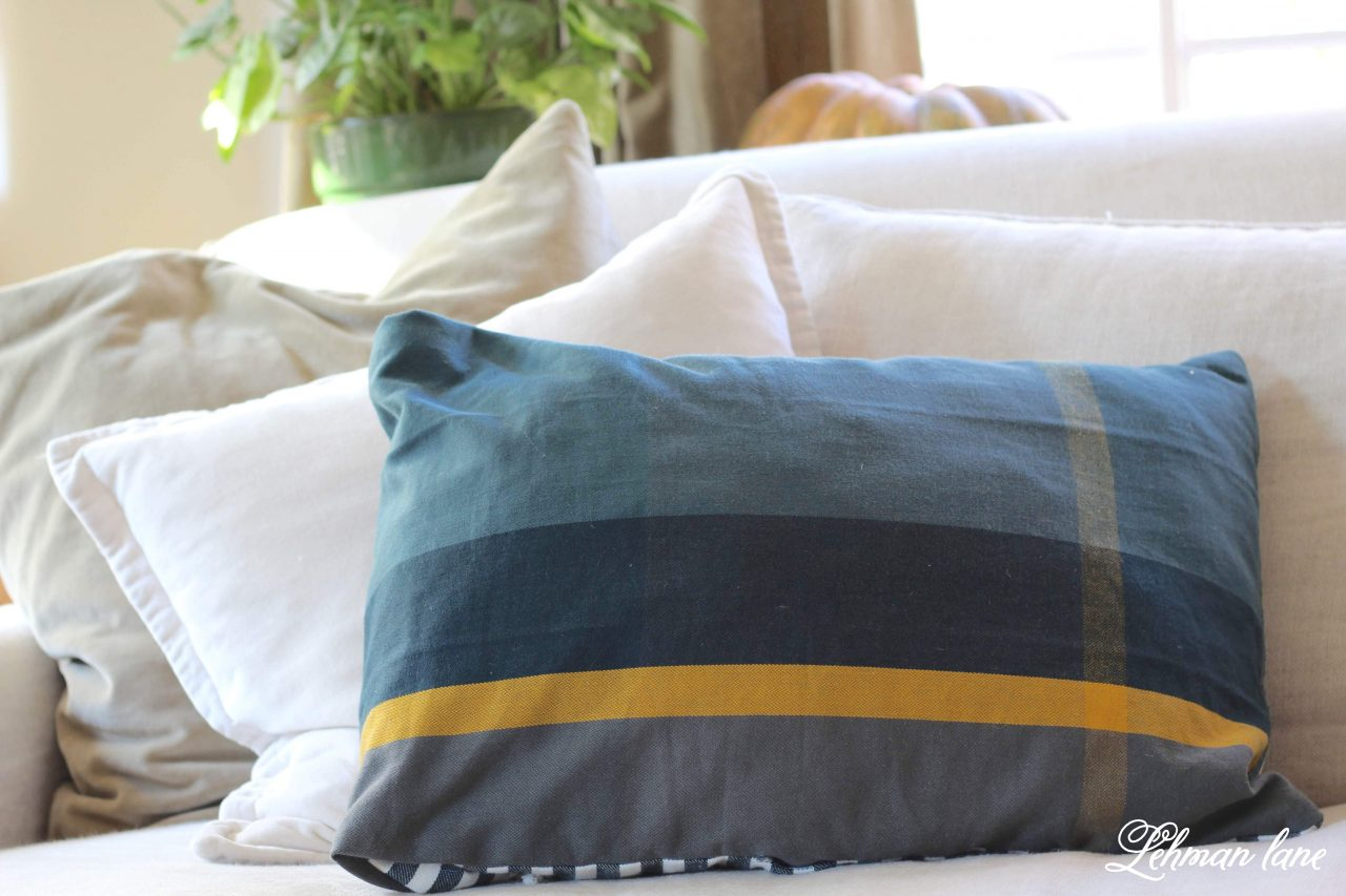 DIY Pillow Cover - With no chance of finding the matching pillow I was looking for I decided to make one of my own. My new pillow was created using 2 dish towels with the same pattern making it the simplest DIY pillow cover EVER for just $6 in just 5 mins! #diypillow #pillow http://lehmanlane.net