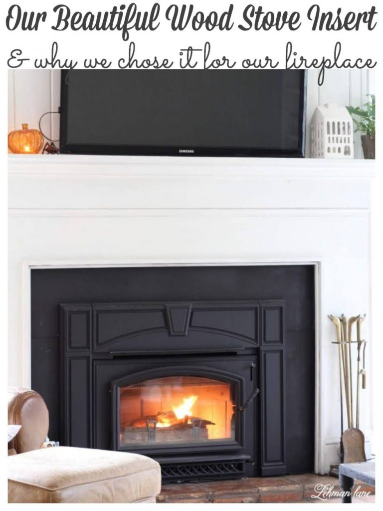 Sharing all the details about our beautiful & cozy wood stove insert, why we chose a Quadra-Fire voyager grand insert & what our wood stove insert looks like in our fireplace now. #woodstoveinsert #woodstove #fireplace&woodstoveaccesories #fireplacemakeover #fireplace