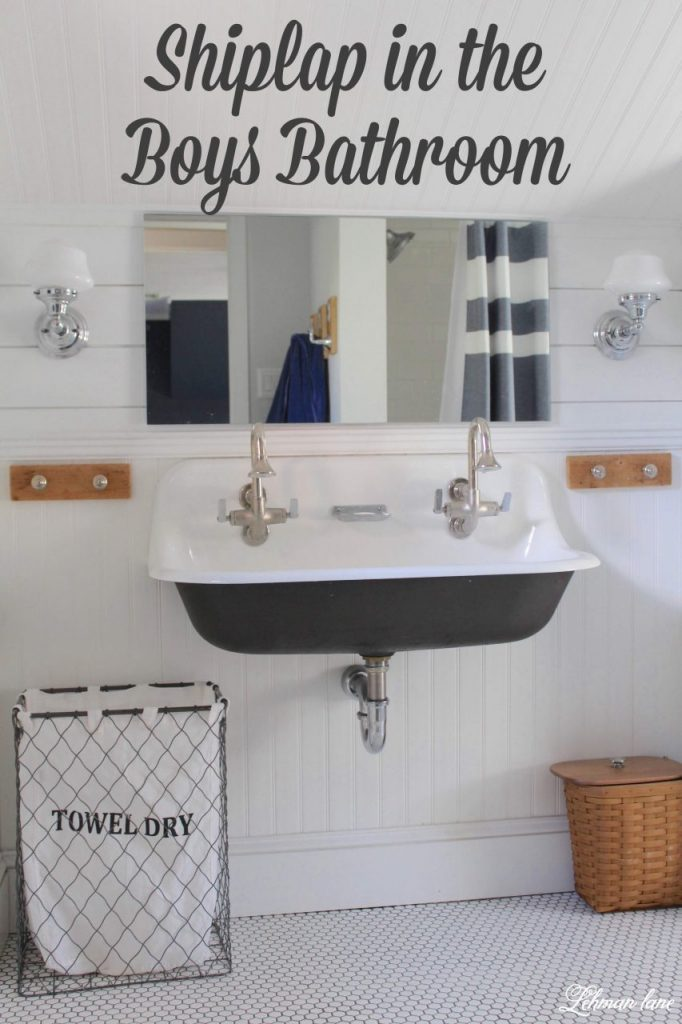 Shiplap in the Boys Bathroom - Our boys bathroom received a small makeover with a new mirror & shiplap walls. It was a simple & inexpensive update that we finished in just a weekend! #shiplap #shiplapbathroom #farmhousebathroom #boysbathroom https://lehmanlane.net