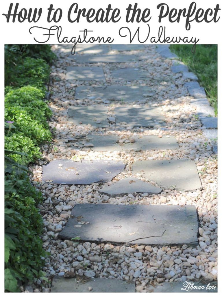 DIY Flagstone Patio - I spruced up the walkway around our farmhouse with flagstone. Although this DIY project was hard work it looks beautiful & it was FREE to do! #diyprojects #flagstone #hardscape #walkwayideas https://lehmanlane.net