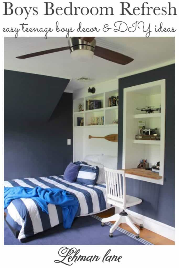 Sharing all the details of our teenage boys bedroom refresh with queen size bed, DIY project ideas, how to decorate with farmhouse style decor & pictures. #boysbedroom #farmhousestyle #bedroomrefresh #bluebedroom https://lehmanlane.net