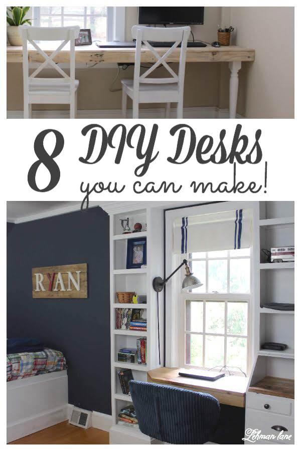 8 DIY Desks you can make - #diy #diyprojects #desk #workspace #backtoschool https://lehmanlane.net