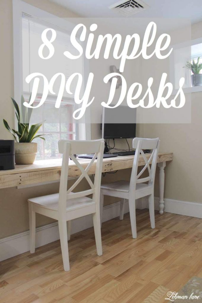 8 DIY Desks you can make - I am not sure if Jason & I really like building desks or if we are trying to come up with the best solutions for getting our kids to do homework, Ha! Since moving into our farmhouse 6 + years ago we have made 8 (EIGHT) DIY desks. #DIY #desks https://lehmanlane.net