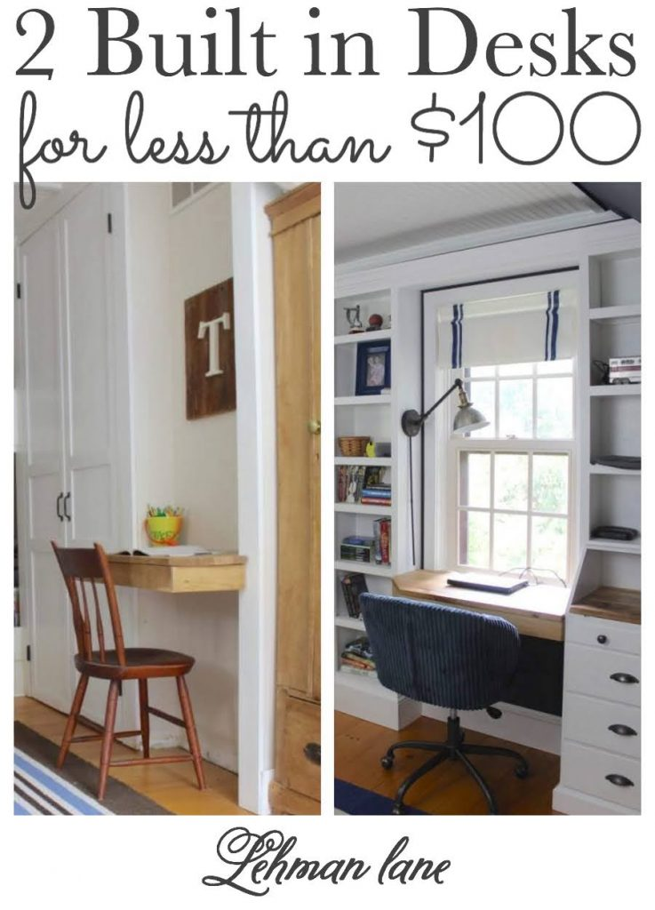 These DIY boys custom built in desk ideas are cheap, simple to make & don't take away from precious floor space so they are perfect for small spaces. #desk #deskspace #diydesk #diyprojects #homeoffice https://lehmanlane.net