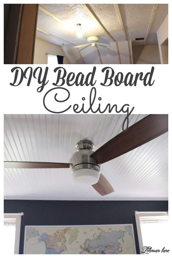 We added a bead board ceiling to our son's room. The bead board ceiling gives his room a ton of farmhouse character & looks great next to his blue walls. #beadboard #diyprojects #ceiling https://lehmanlane.net