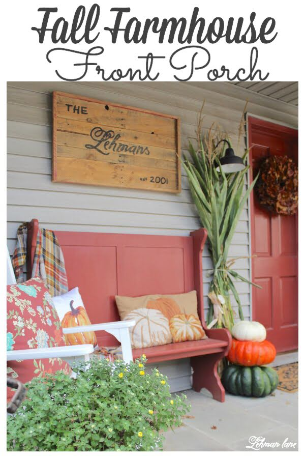 Fall front porch - Farmhouse sign, entryway bench, rockers, cornstlaks, pumpkins and mums #fallfrontporch #fall farmhouse https://lehmanlane.net