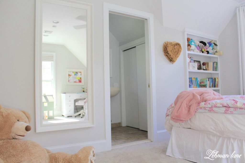 Girl's Bedroom Makeover - we painted her room, built a bookcase, added new carpet & transformed her furniture. #girlsbedroom #farmhousebedroom https://lehmanlane.net