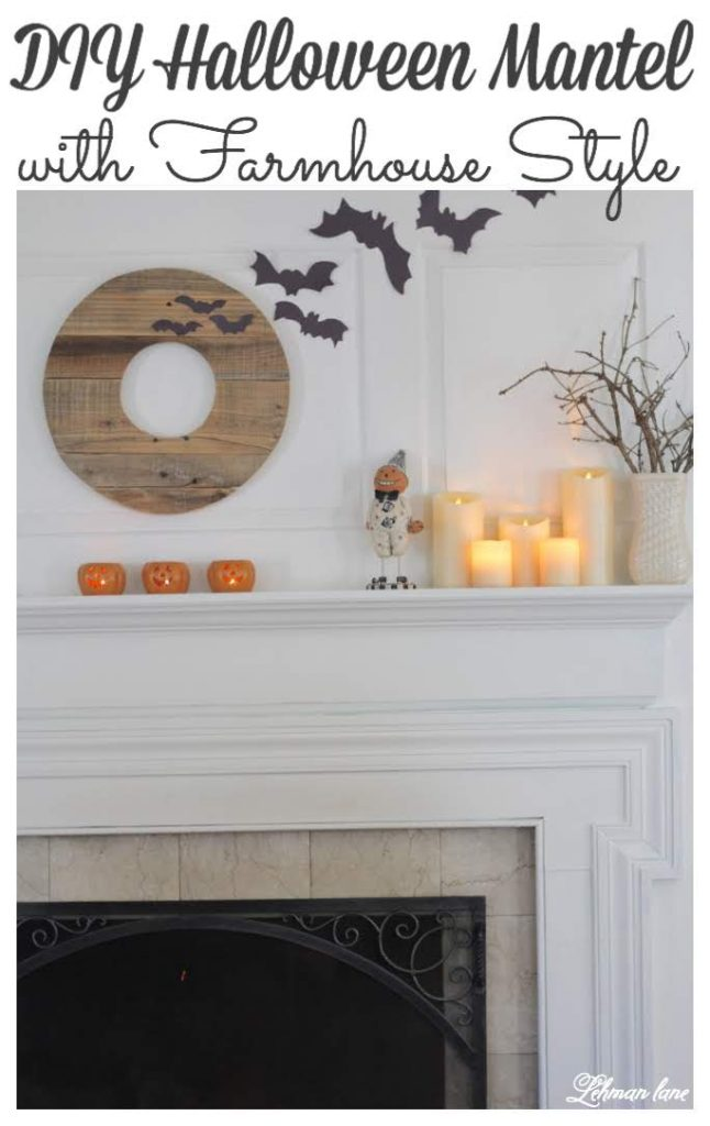 I decorated our farmhouse mantel for Halloween with homemade bats & candles #halloween #halloweenmantel https://lehmanlane.net
