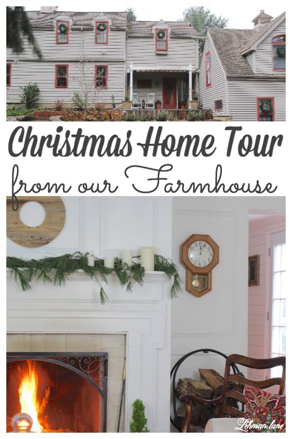 Christmas home tour of our Farmhouse - Staying true to our 1800's farmhouse I kept the style cozy & warm with lots of greenery mixed in & I hope you will enjoy all the Christmas decorating ideas I am sharing today. #christmas #farmhousechristmas https://lehmanlane.net