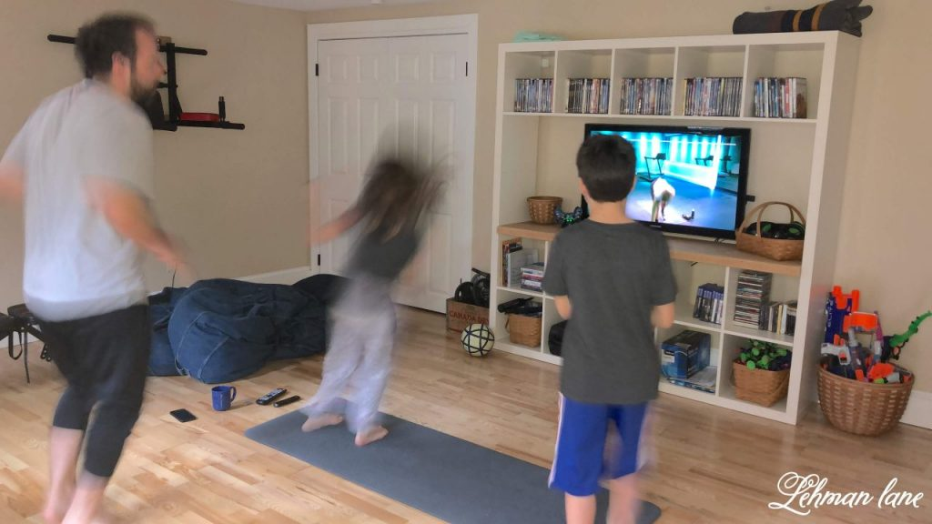 DIY Home Gym, Exercise Room & Office -We transformed our basement into a home gym/ exercise room & office. This is a simple & inexpensive DIY project for the basement of our farmhouse.#homegym #exerciseroom #diy https://lehmanlane.net
