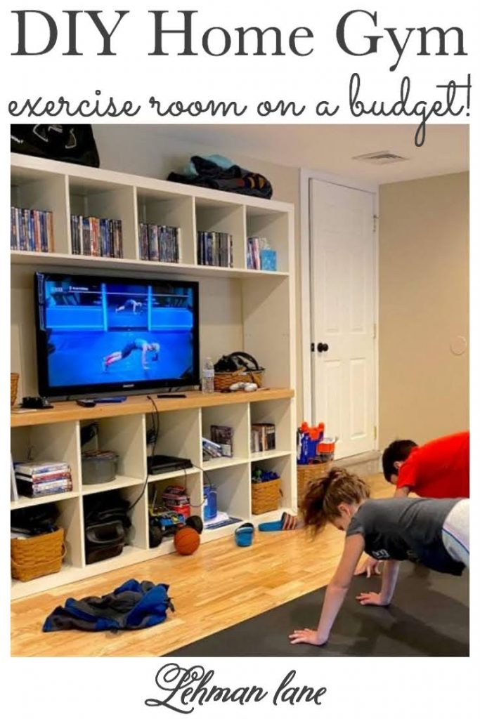 We transformed our basement into a home gym/ exercise room & office on a budget.  Sharing all the tricks & tricks for how we created our DIY home gym including flooring, decor, storage & organization ideas. #gym #fitnessandexercises #fitness #exerciseroom https://lehmanlane.net