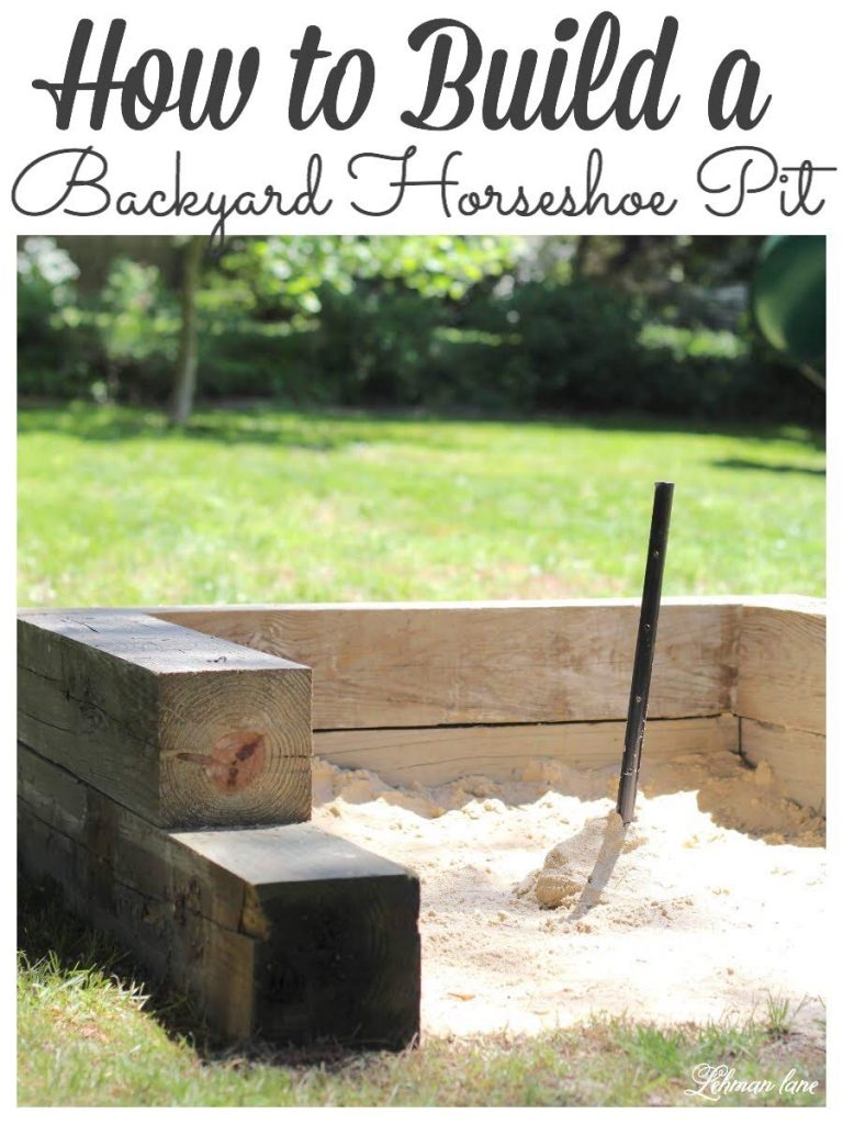 DIY - How to Build a Horseshoe Pit - Today I am sharing all about how to build a Horseshoe pit for your backyard. It was super simple to make, inexpensive, and our whole family loves to play it. #diy #horseshoepit https://lehmanlane.net