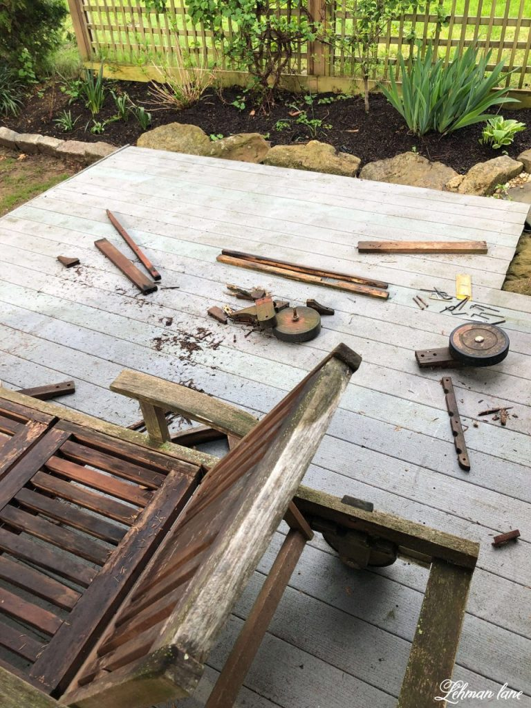 Sharing 5 Gardening, Decorating & DIYing Backyard Patio & Deck Ideas on a budget to make your backyard look fantastic! Ideas like Repairing Patio Furniture, power washing, mulching & building a reclaimed brick backyard patio & gravel firepit patio of your own! #backyardpatio #backyardpatioonabudget #outdoorliving #backyardprojects https://lehmanlane.net