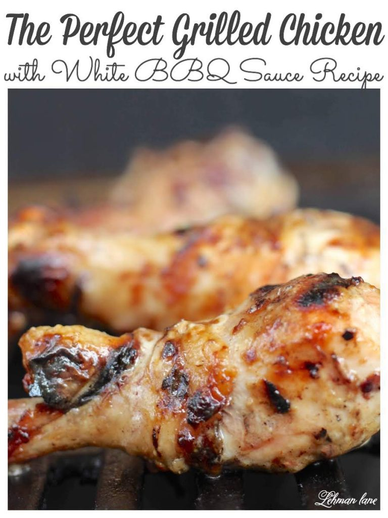 The perfect grilled chicken starts with the best BBQ sauce & today I am sharing our family's fav white BBQ sauce recipe with ingredients you probably already have at home! #recipes #grilledchicken #whitebbqsauce https://lehmanlane.net