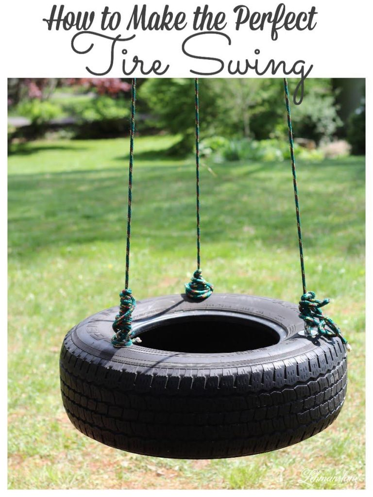 How to Make a Tire Swing - The kids have been bugging us to make a tire swing that 2 people could swing on at once. The tire swing we made was simple to create, inexpensive, and was up in less than an hour! #tireswing #backyardswing https://lehmanlane.net