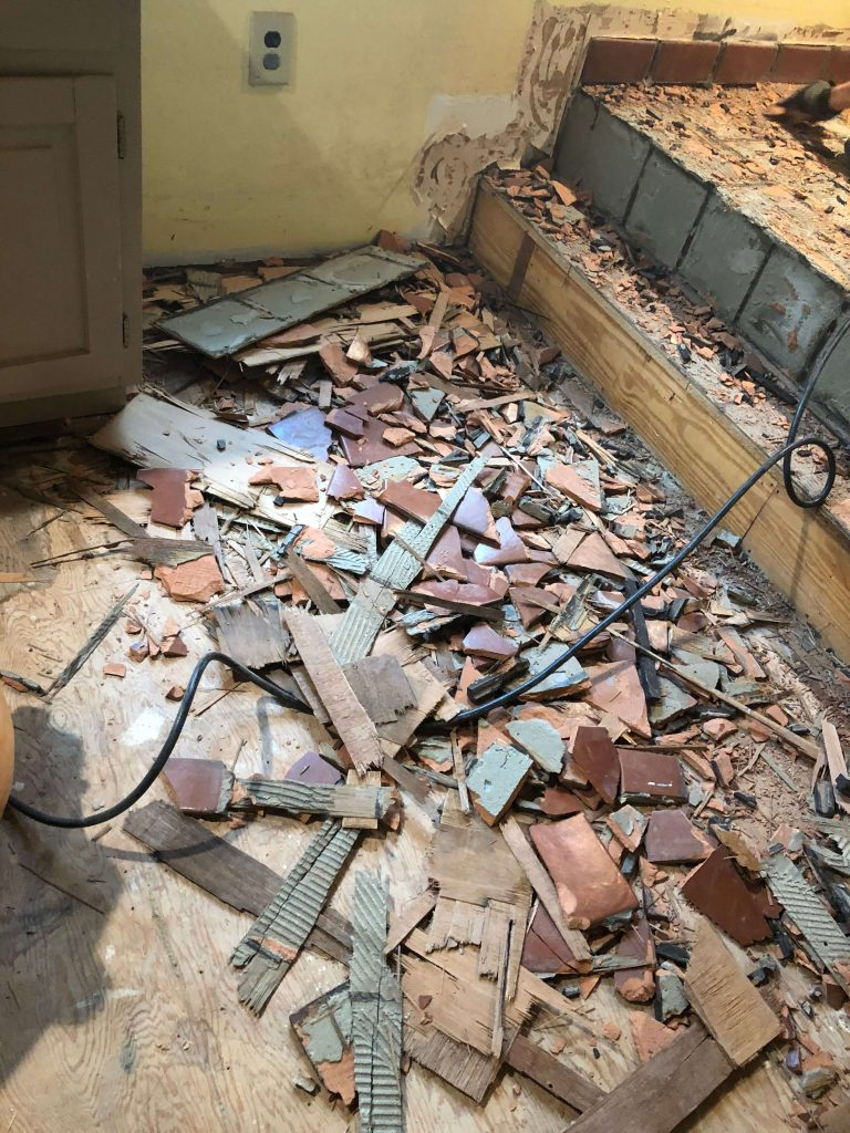 Sharing all our tips & tricks for how to remove tile floor including our #1 favorite tool for the fastest way to remove tile with grout & a wood sub-floor in a bathroom kitchen or anywhere. #tilefloor #tilebathroom #tile #diy #bathroomrenovation https://lehmanlane.net