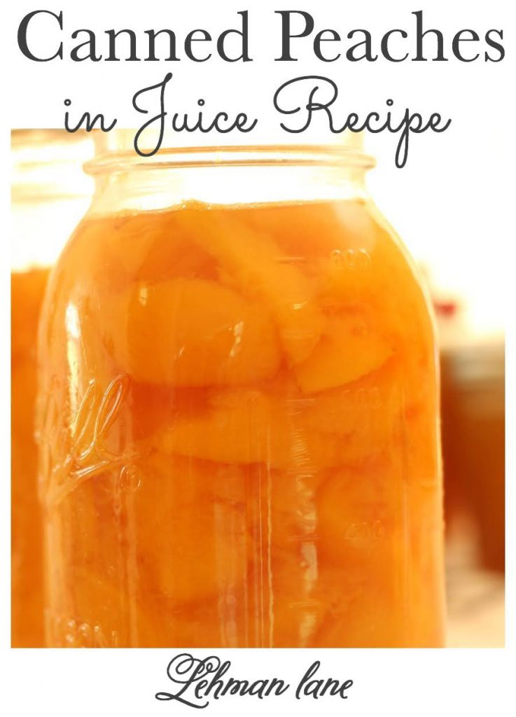 sharing our family's favorite EASY canned peaches in juice recipe.  The best part is that this canned peaches recipe makes canned peaches & homemade peach juice.  What could be better than 2 recipes in 1! #canningtips #canning #cannedpeaches #recipe https://lehmanlane.net