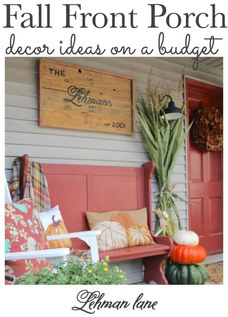 Sharing our farmhouse's fall front porch decor along with 18 of my friend's beautiful & simple fall front porch ideas & fall outdoor décorating ideas with pics. #fallporch #fallplanters #fallfarmhouse #fallwreath #fallhomedecor https://lehmanlane.net