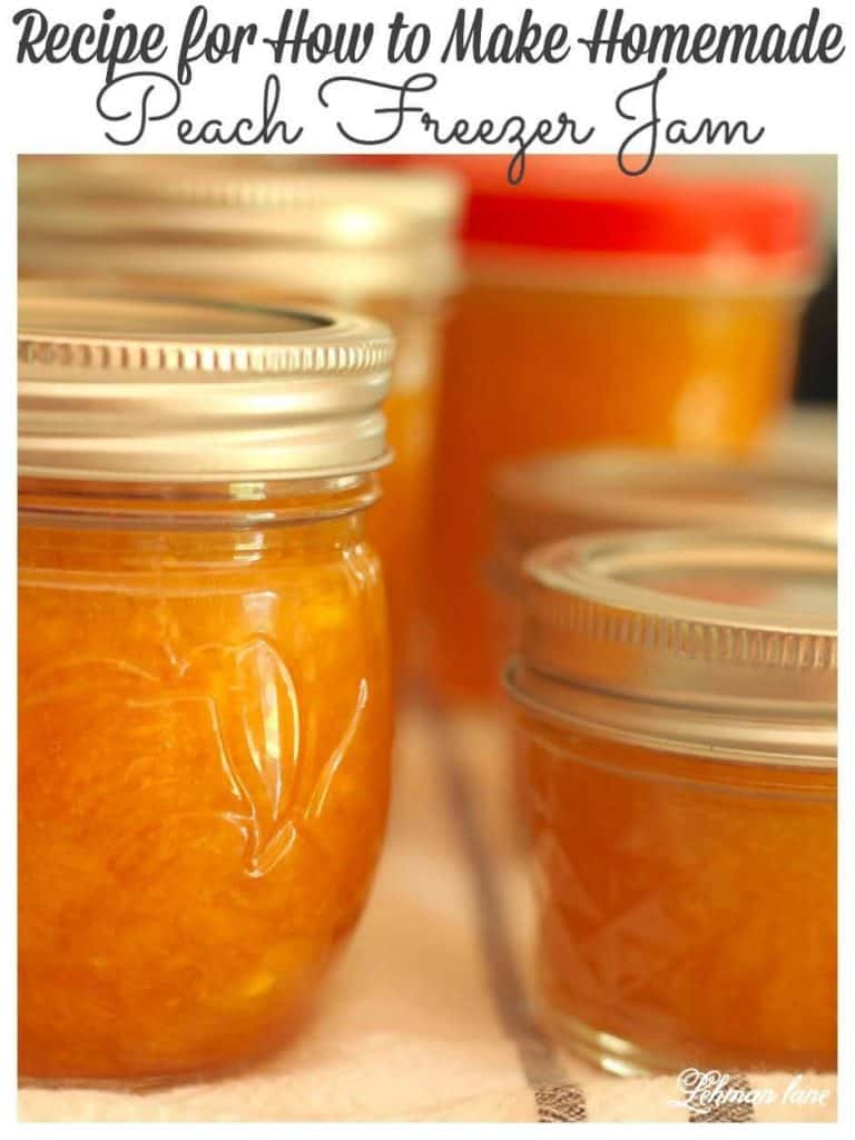 Sharing all my tips & tricks for how to make homemade peach jam. Our easy peach jam recipe can be eaten right away, canned or frozen. #peachjam #peachfreezerjam #canningrecipes #recipes #peaches https://lehmanlane.net