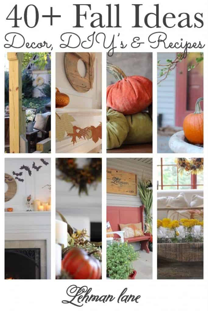Welcome to our Fall Ideas Page! Scroll down to see ALL the Indoor & Outdoor Fall Farmhouse Decor, Fall DIY & Craft Projects & Fall Recipes. Autumn, Halloween & Thanksgiving Ideas too. Including Fall Porch Decor, Fall Tablescapes, Fall Mantel Decorating Ideas, Velvet Pumpkins & Acorns & More! #fall #fallcrafts #fallideas #fallhomedecor https://lehmanlane.net