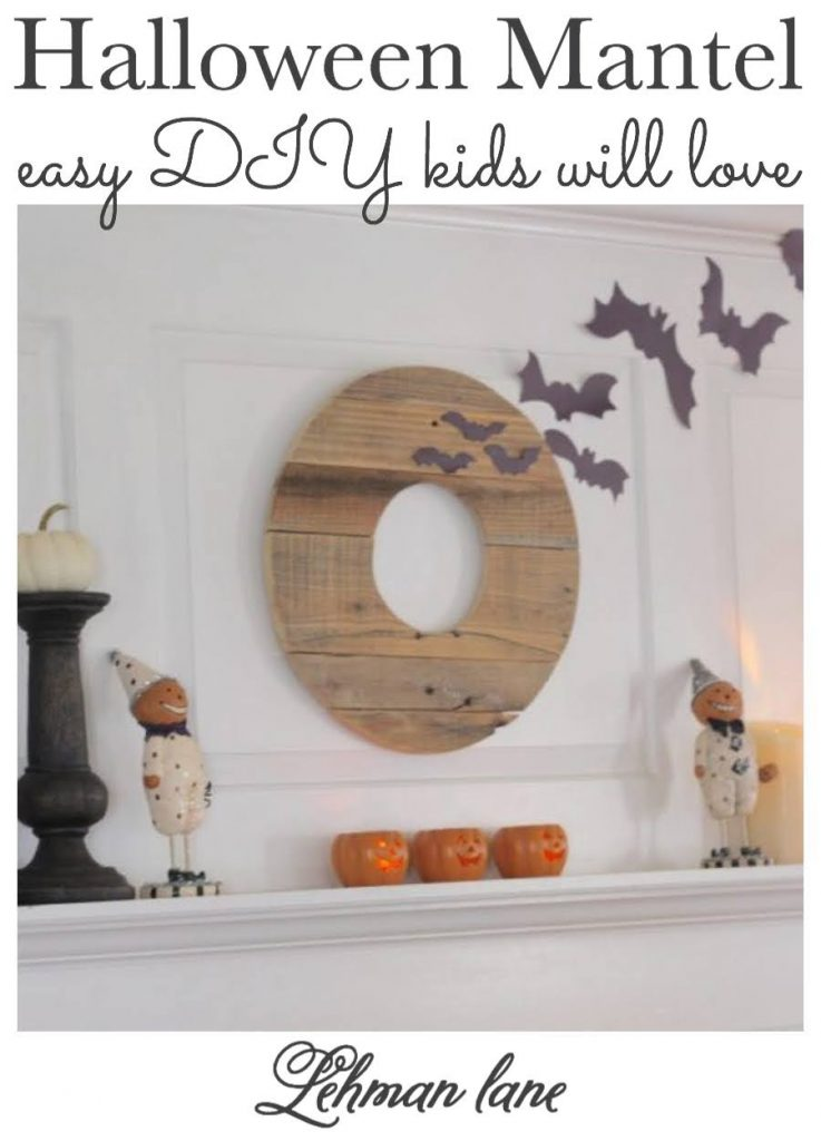 Sharing all the Tips & Tricks for Ideas of How to Create a Fun & Easy DIY Halloween Mantel for a fireplace that your kids will love complete with classic Halloween decorations, jack o lanterns, candles, pumpkins & bats. #halloweencrafts #halloween #fireplacemantel https://lehmanlane.net