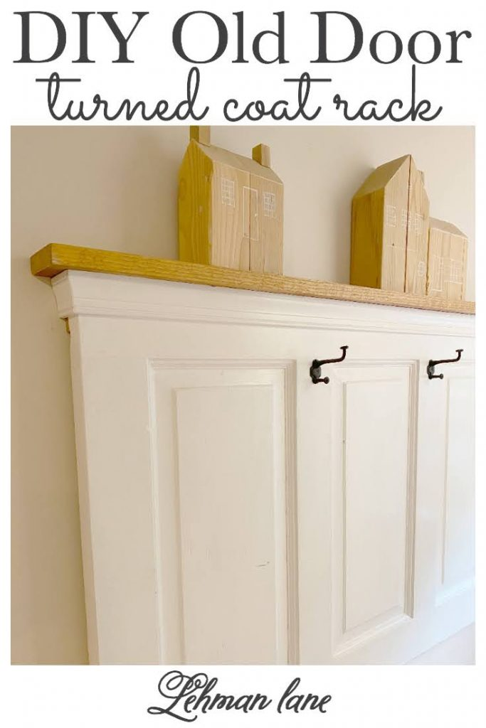 Sharing all the tips & tricks for how we transformed an old vintage entry door into a gorgeous & easy DIY Old Door Turned Coat Rack to keep us organized in our farmhouse entryway & hang up all the coats, handbags & backpacks in our entryway #coatrack #storageandorganization #entryway #smallentryway #mudroom #entryhall #diyprojects https://lehmanlane.net