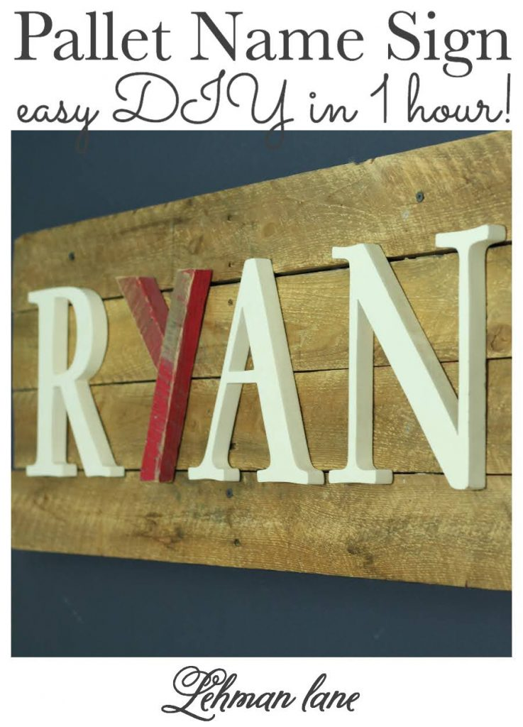 Sharing all the tips & tricks to make your own pallet wood sign DIY including a step by step tutorial. This pallet name sign was crazy easy to make, totally free using supplies we already had & we were done in an hour! #palletprojects #palletsigns #palletcrafts #palletfurniture #palletart https://lehmanlane.net