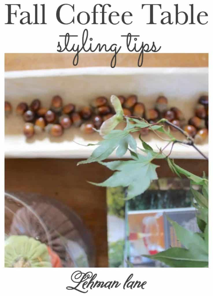 Sharing coffee table styling ideas for our farmhouse fall coffee table including pumpkins, acorns, books, candles, fall leaves & more! #fall #fallhomedecor https://lehmanlane.net