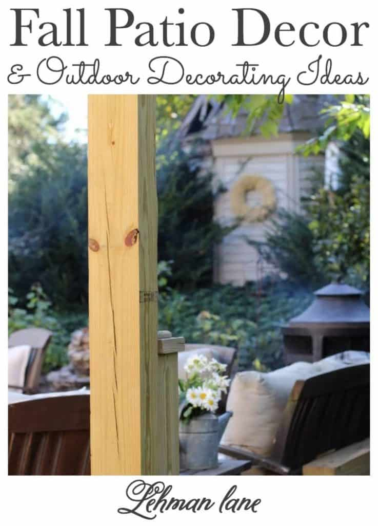 If you get as excited about outdoor fall décor as I do, I hope you will check out my simple & cozy fall patio decor along with many more beautiful fall outdoor decorating ideas from my friends #patio #fallhomedecor #backyardpatio https://lehmanlane.net