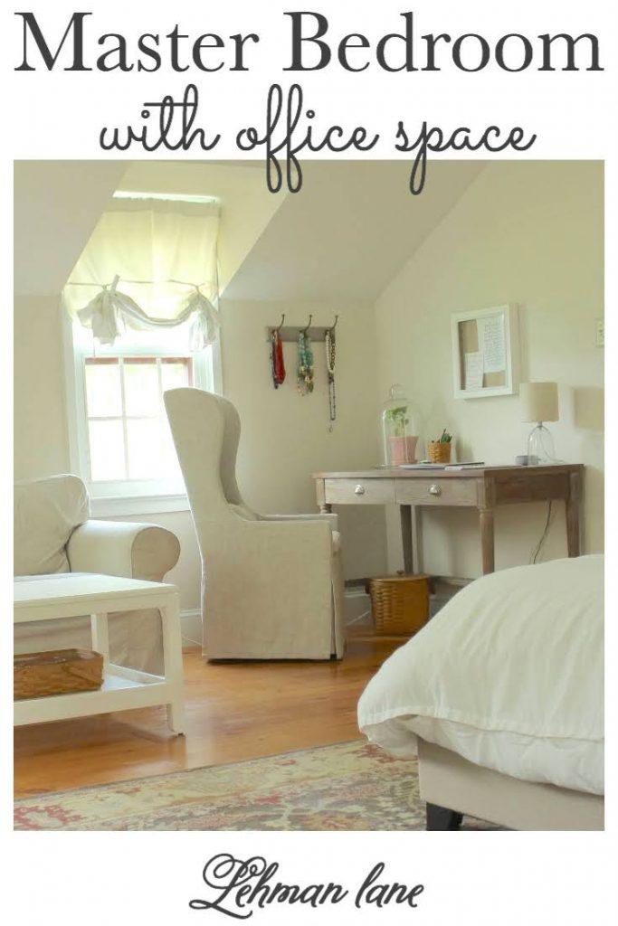 Sharing how we added some much needed office space to our farmhouse master bedroom with desk in our newly created small office nook. #masterbedroom #masterbedroomdecor #officespace #homeoffice #desk #farmhousedecor https://lehmanlane.net