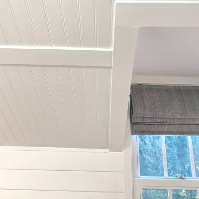 Sharing all the details of how we added a beautiful white bead board ceiling and shiplap in the master bath with pictures. #masterbathroom #diyprojects #shiplap https://lehmanlane.net