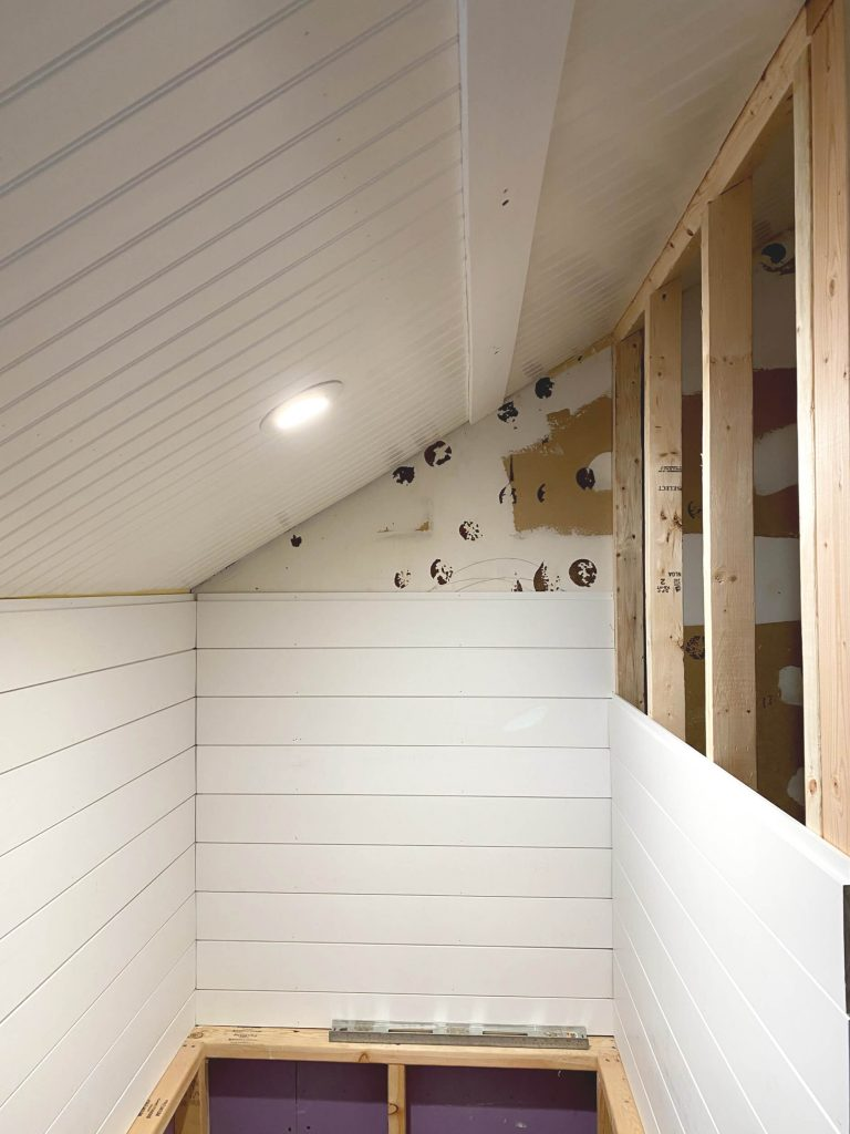 Sharing all the details of how we added a beautiful white bead board ceiling and shiplap in the master bath with pictures. #masterbathroom #diyprojects https://lehmanlane.net