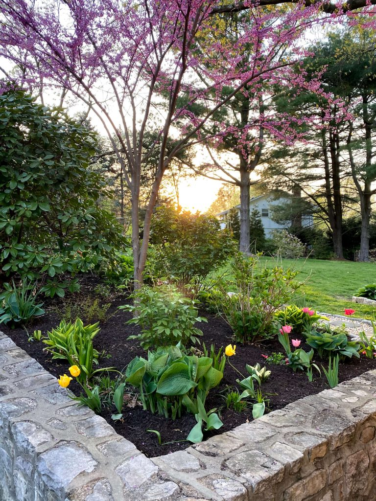 Sharing a tour of our Farmhouse's spring garden, my favorite spring plants & gardening ideas with pictures.