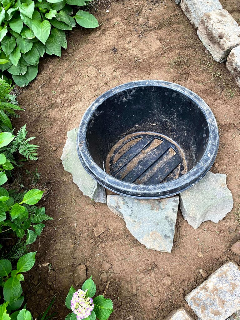 Sharing all my tips & tricks for how to make a simple & beautiful Small DIY Water Garden Pond in a Pot with a fountain to encourage wildlife in our backyard with in just 2 hours for less than $50 with a supply list, step by step instructions & pictures! #diywatergarden https://lehmalane.net
