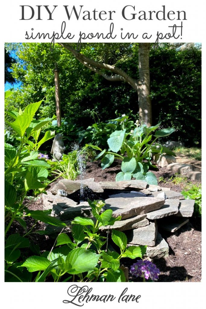 Sharing all my tips & tricks for how to make a simple & beautiful Small DIY Water Garden Pond in a Pot with a fountain to encourage wildlife in our backyard with in just 2 hours for less than $50 with a supply list, step by step instructions & pictures! #diywatergarden https:/lehmanlane.net